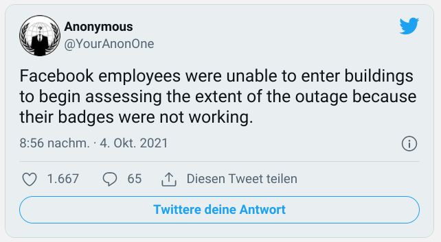 Anonymus on Twitter about Facebook downtime